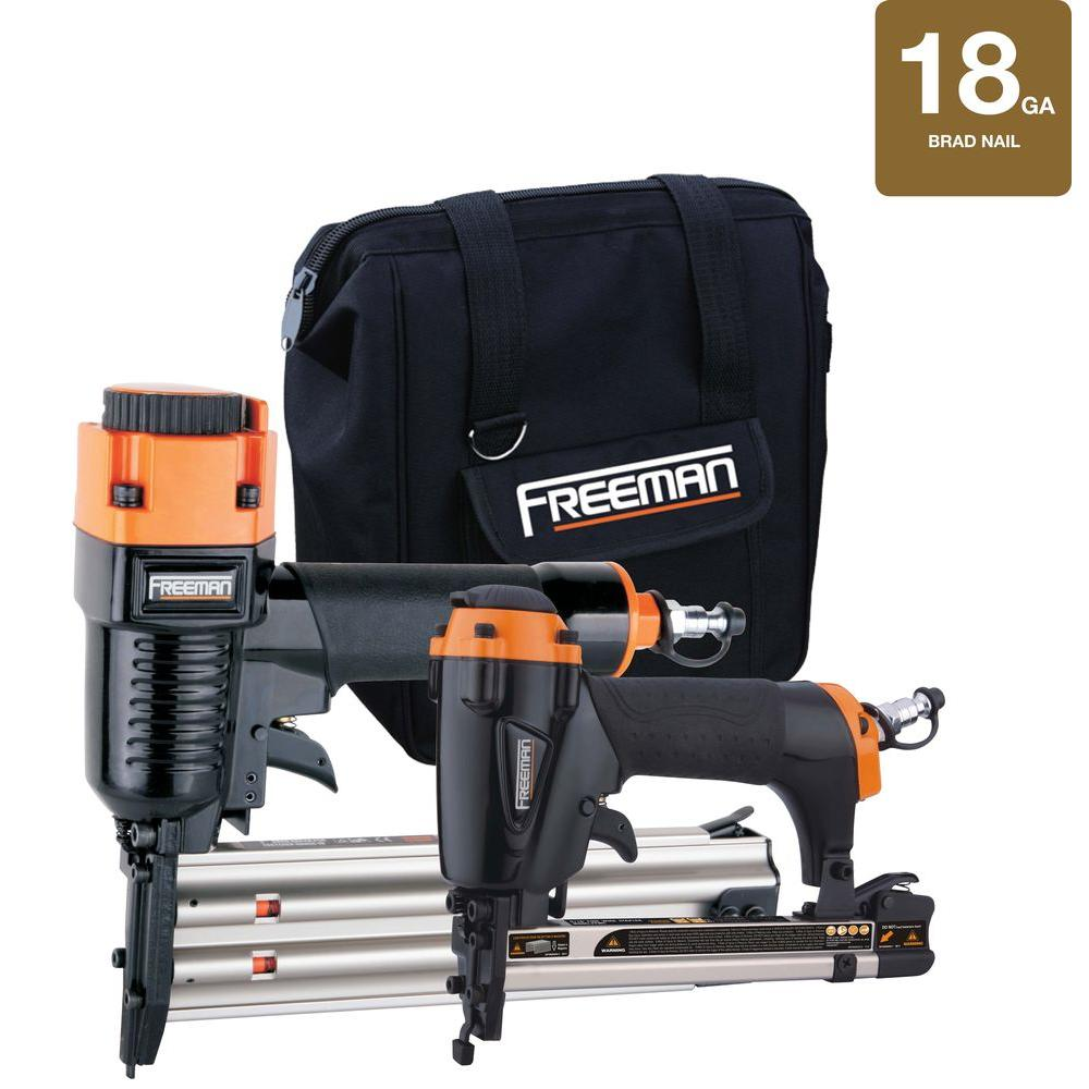 Freeman Pneumatic Brad Nailer and Stapler Kit with Bag
