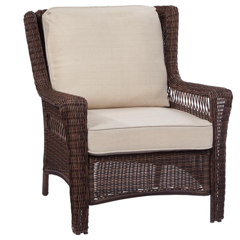 Stationary Chair Hampton Bay Park Meadows Brown Stationary Wicker Outdoor Lounge Chair With Beige Cushion
