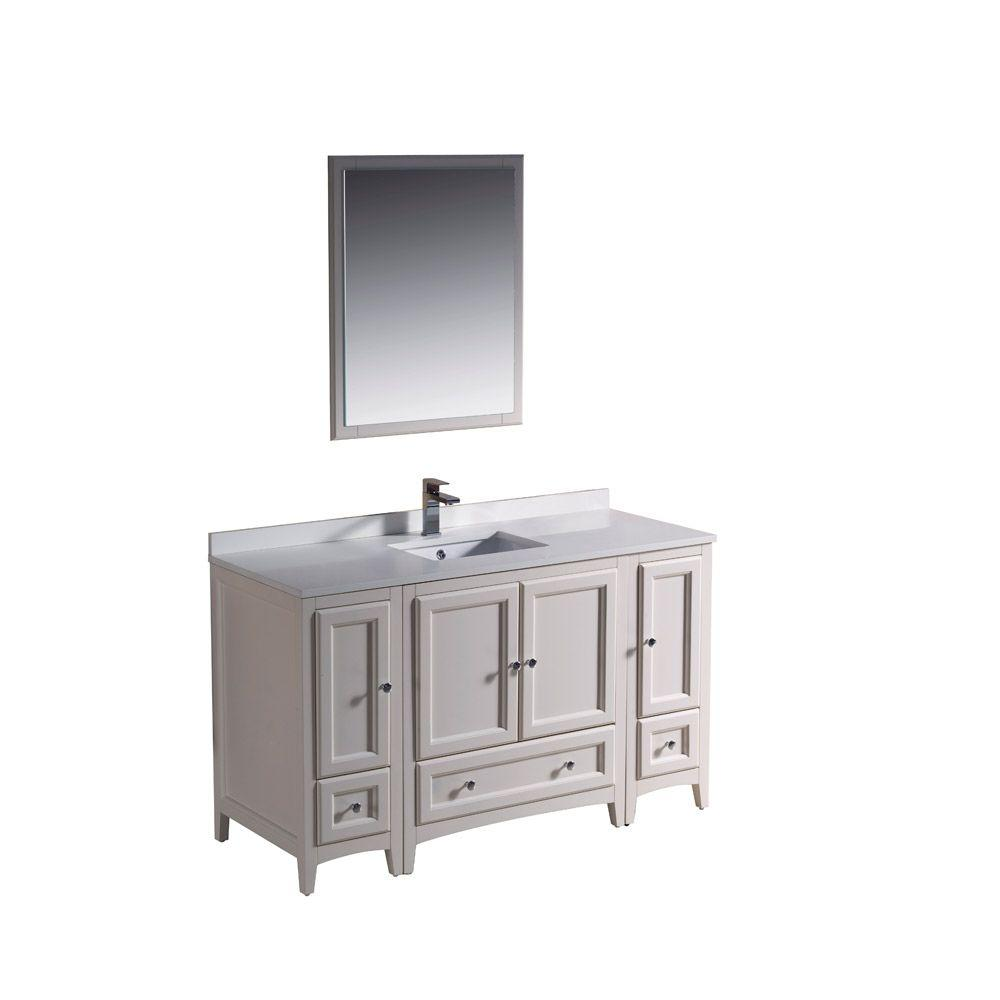 54 Bathroom Vanity Fresca Oxford 54 In Vanity In Antique White With Ceramic Vanity Top In White With White Basin And Mirror