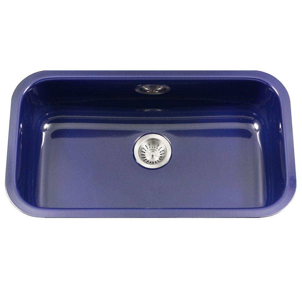 blue kitchen sink seat cushions for chairs houzer porcela series undermount porcelain enamel steel 31 in large single bowl