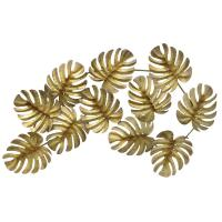 THREE HANDS Gold Metal Tropical Leaves Wall Decor-10116 ...
