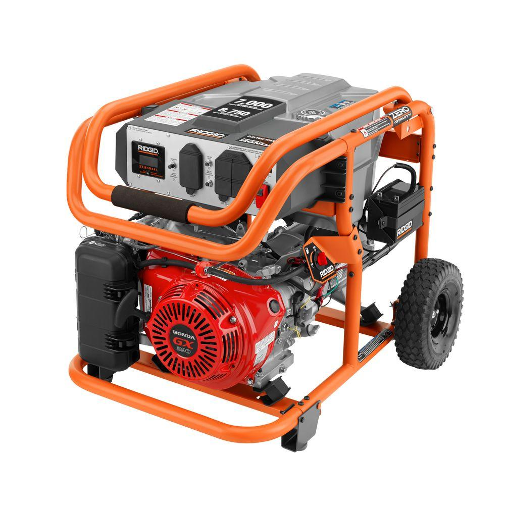 hight resolution of ridgid 7 000 watt gasoline powered electric start portable generator with honda gx390 engine