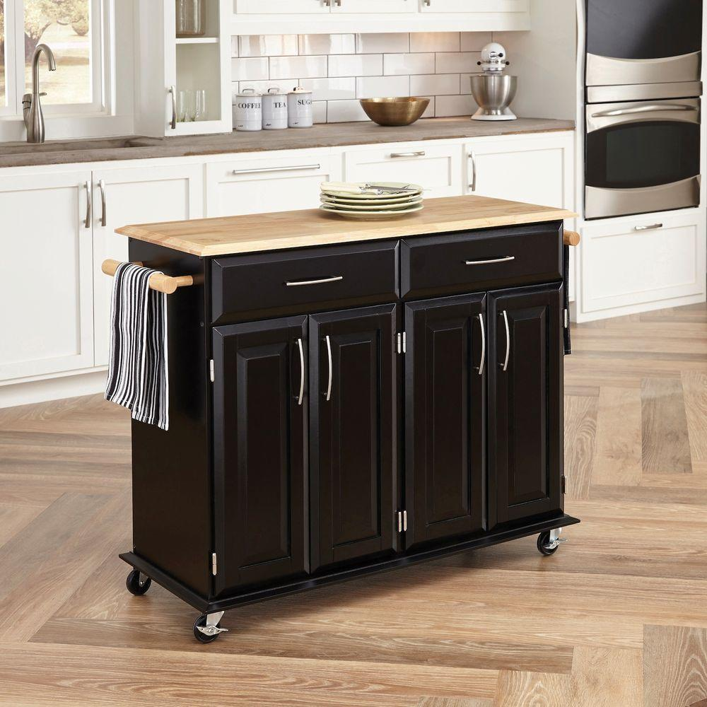 cart for kitchen cost of painting cabinets professionally home styles dolly madison black with storage 4528 95
