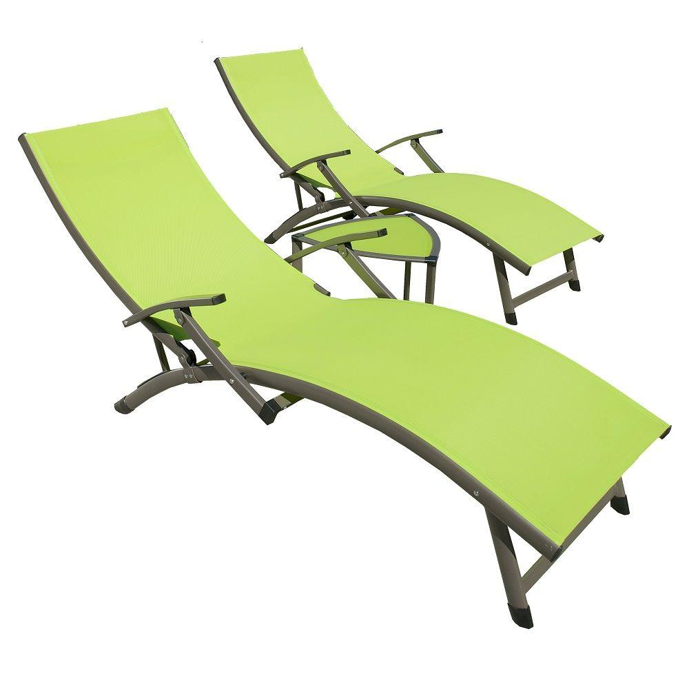 Pool Chaise Lounge Chairs Rst Brands Sol Sling 3 Piece Green Patio Chaise Lounge Set