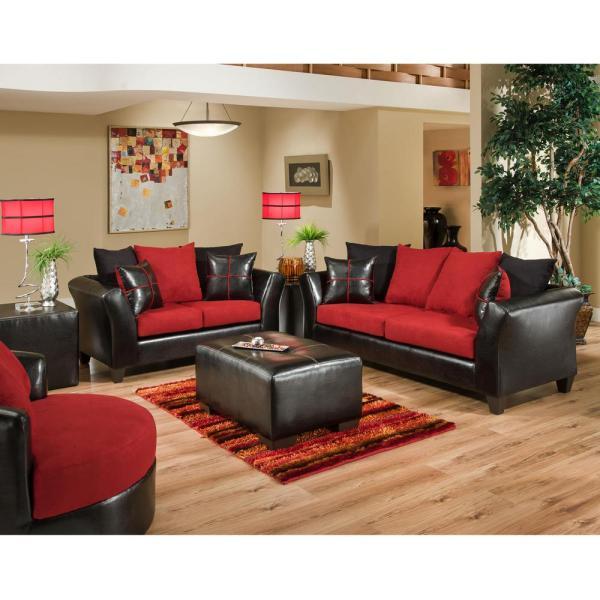 Red Microfiber Living Room Furniture Set