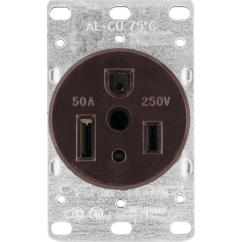 3 Prong Plug Wiring Diagram Hss Eaton 50 Amp Heavy Duty Grade Flush Mount Power Receptacle With Wire Grounding Black