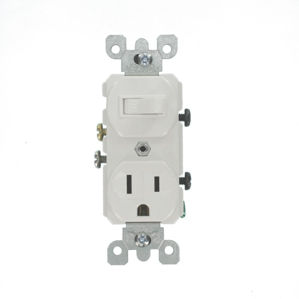 hight resolution of leviton 15 amp combination switch outlet white 5225 ws the home depot leviton 5225 wiring diagram