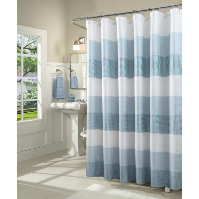 light blue and grey shower curtain