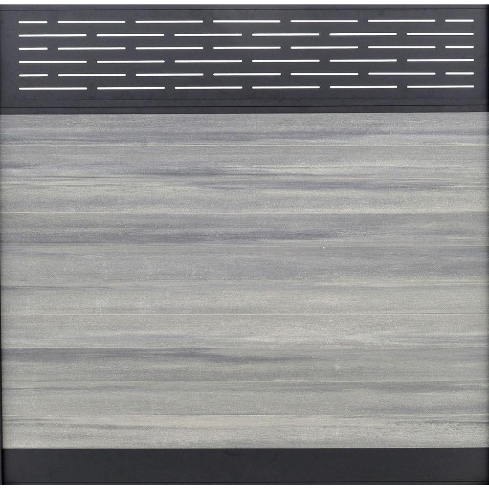 Veranda Euro Style 6 Ft H X 6 Ft W Lattice Top Oxford Grey AluminumComposite Horizontal Fence