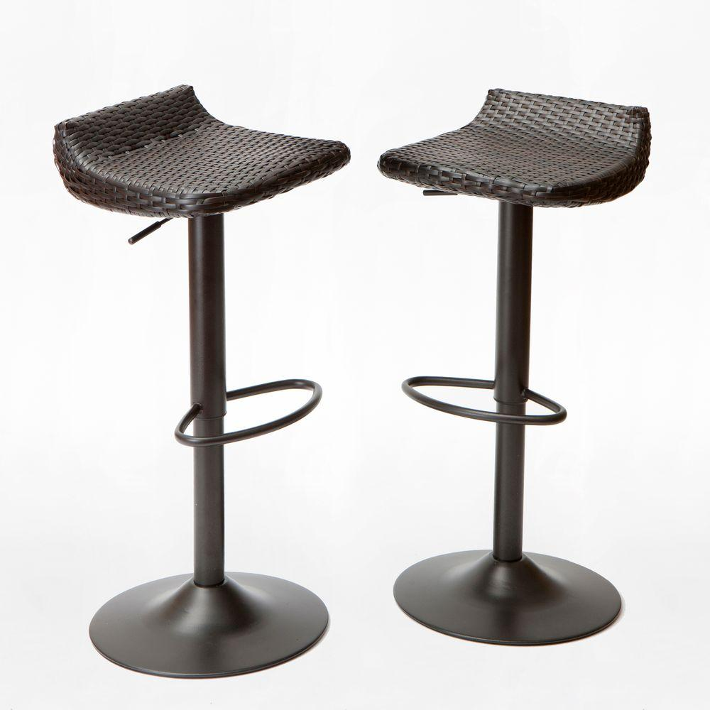 outdoor bar chairs kitchen chair covers canada rst brands woven wicker patio stool 2 pack ip pebst3205 deco