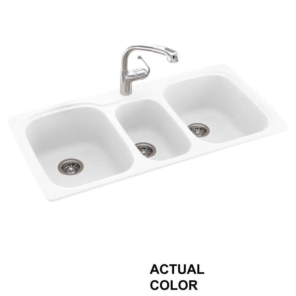 triple kitchen sink grey cabinet ideas swan drop in undermount solid surface 44 1 hole 40 20 bowl white