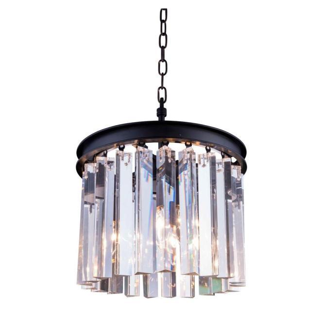Elegant Lighting Sydney 3 Light Mocha Brown Chandelier With Clear Crystal 1208d12mb Rc The Home Depot