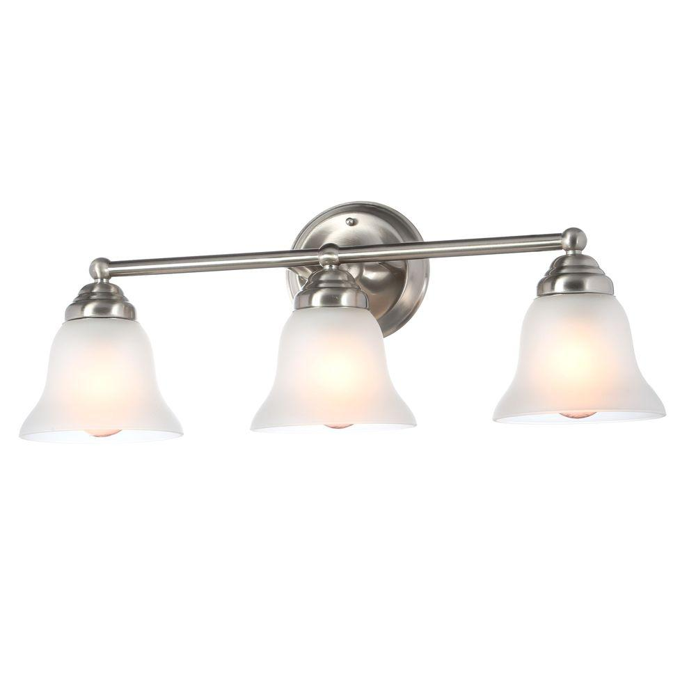 Bathroom Light Fixtures Hampton Bay 3 Light Brushed Nickel Vanity Light With Frosted Glass Shades