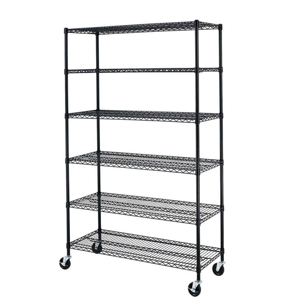 72 in. x 48 in. x 18 in. Black Wire 6-Tier Adjustable