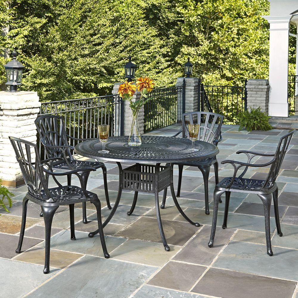 Home Styles Largo 48 in Cast Aluminum Charcoal Outdoor 5