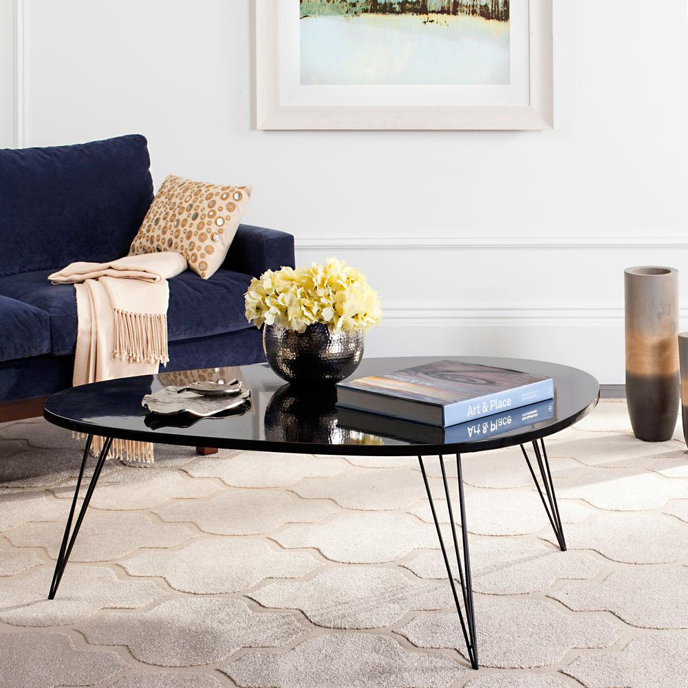 retro living room coffee table design safavieh wynton mid century lacquer black fox4215d the home depot