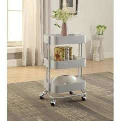 Metal Kitchen Carts Cabinet Alternatives Islands Utility Tables The Home Depot 3 Tier White Storage Cart