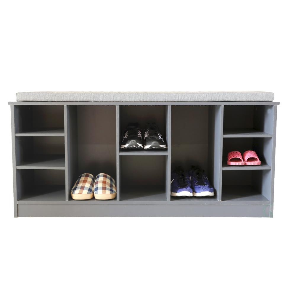 Basicwise Wooden Shoe Cubicle Storage Entryway Bench with