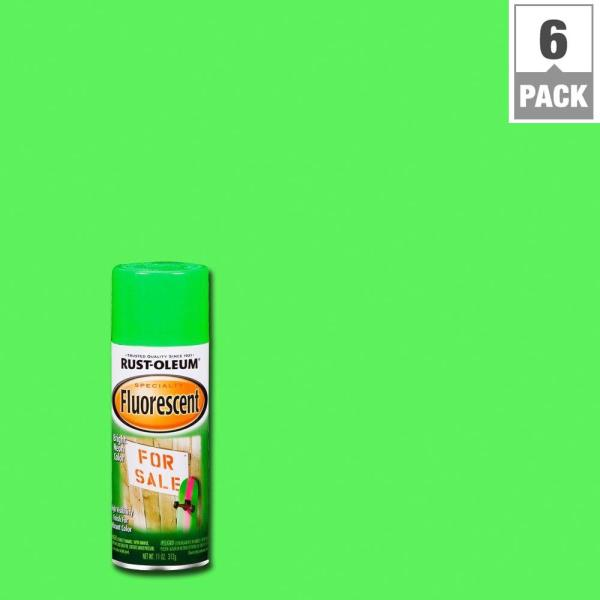 Rust-oleum Specialty 11 Oz. Green Fluorescent Spray Paint 6-pack -1932830 - Home Depot
