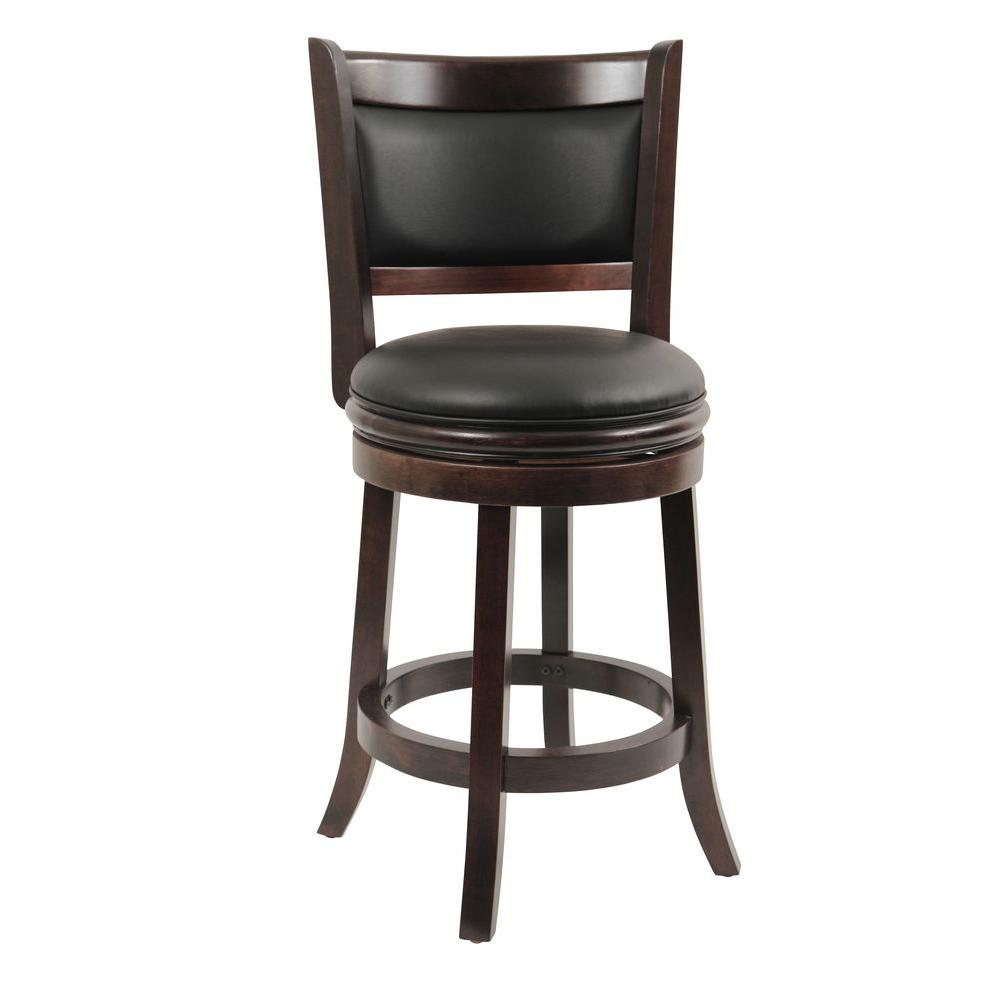 counter height bar chairs folding chair for living room boraam augusta 24 in cappuccino swivel cushioned stool 48824
