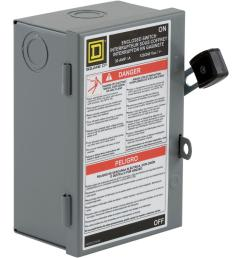square d 30 amp 240 volt 2 pole fused indoor light duty safety switch [ 1000 x 1000 Pixel ]