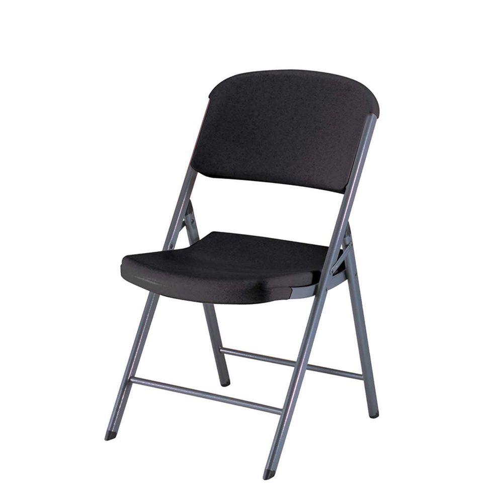 Lifetime Chair Lifetime Black Plastic Seat Outdoor Safe Folding Chair Set Of 4