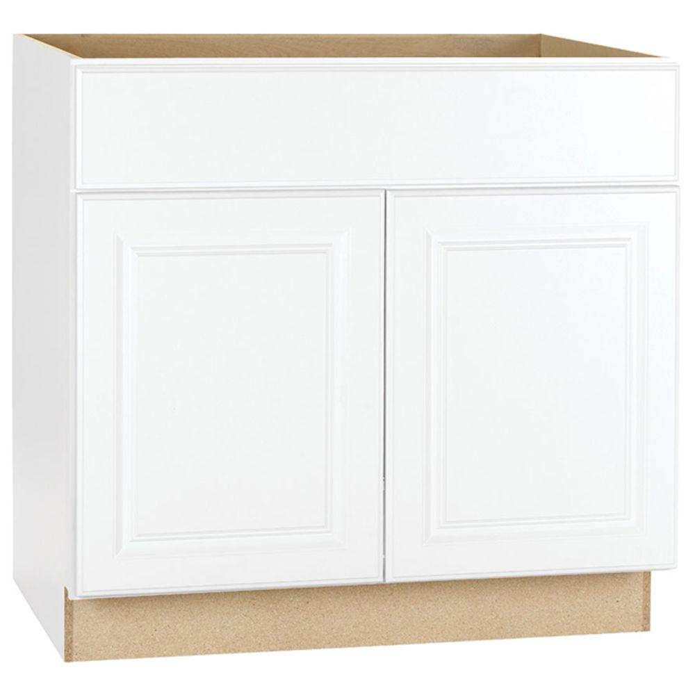 kitchen base cabinet hood hampton bay assembled 36x34 5x24 in sink satin white