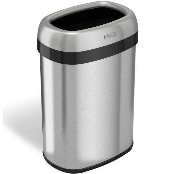 Itouchless 13 Gal. Oval Open Top Commercial Grade Stainless Steel Trash And Recycle Bin 12