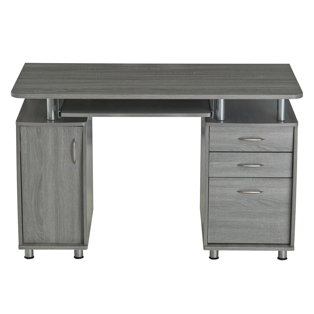 Techni Mobili Grey Complete Workstation Computer Desk with
