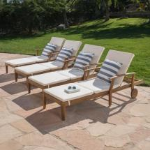 Noble House Teak Brown 4-piece Wood Outdoor Chaise Lounge