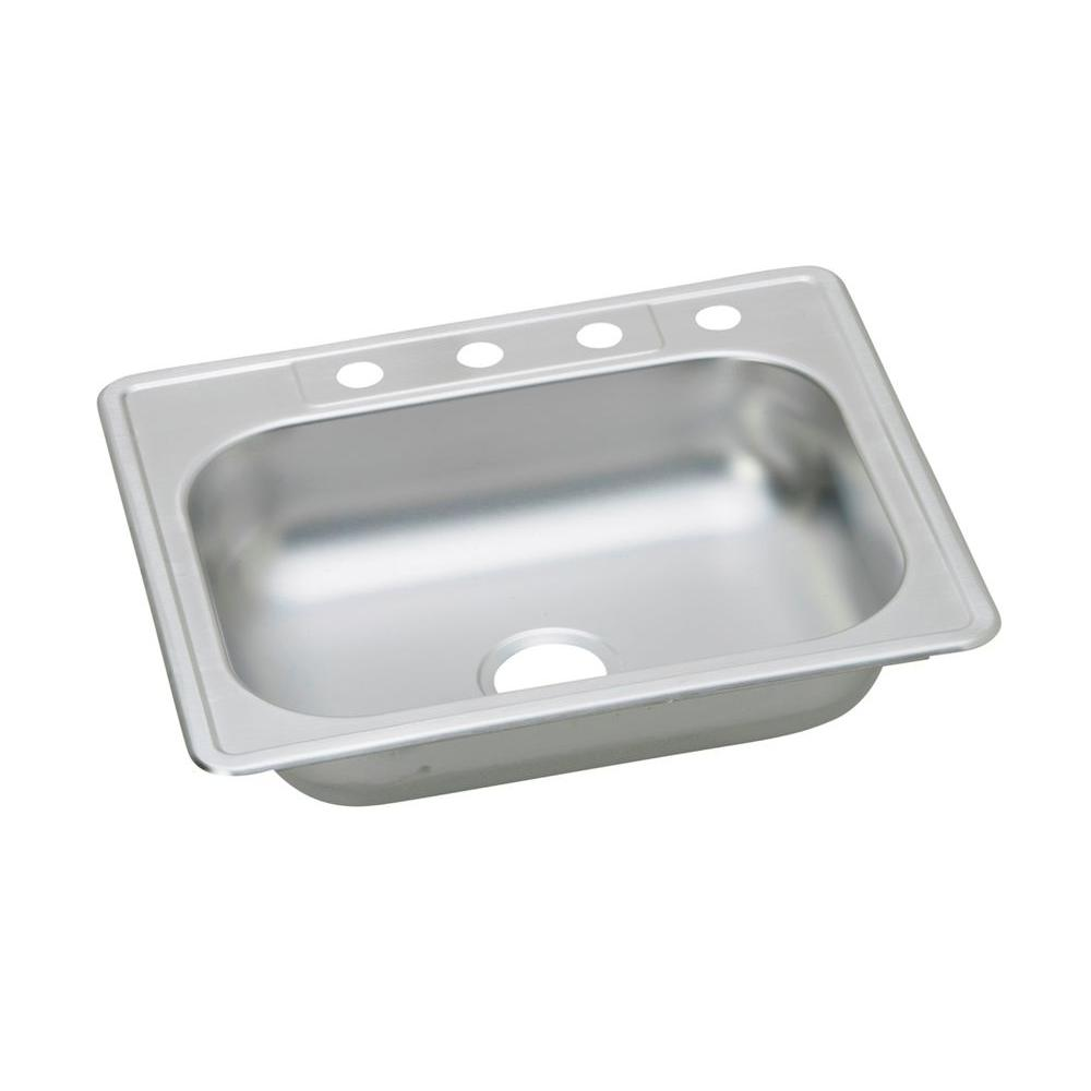 single bowl stainless kitchen sink through wall exhaust fan elkay dayton drop in steel 25 4 hole