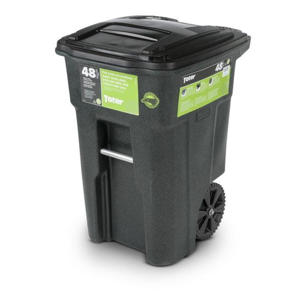 Toter 48 Gal Greenstone Trash Can with Wheels and