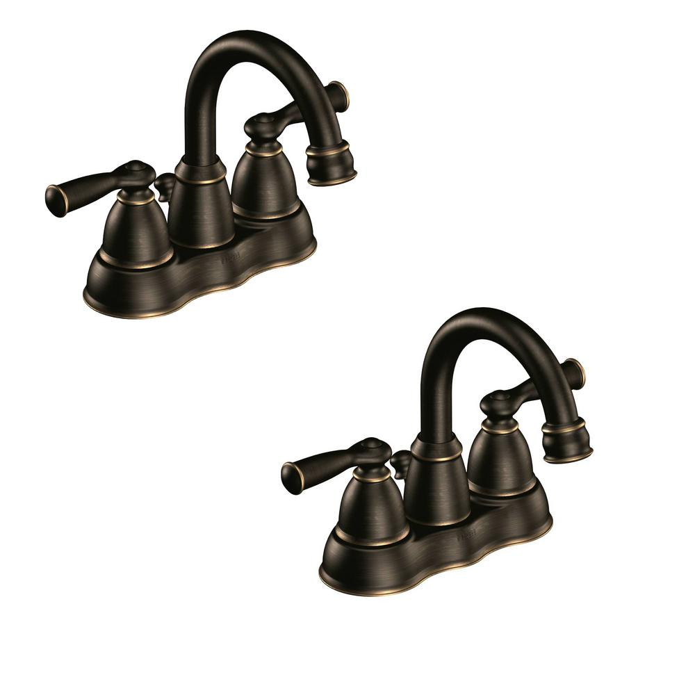 MOEN Banbury 4 in Centerset 2Handle Bathroom Faucet in Mediterranean Bronze 2Pack