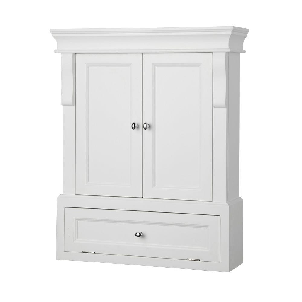 Wall Cabinets For Bathrooms Home Decorators Collection Naples 26 1 2 In W X 32 3 4 In H X 8 In D Bathroom Storage Wall Cabinet In White