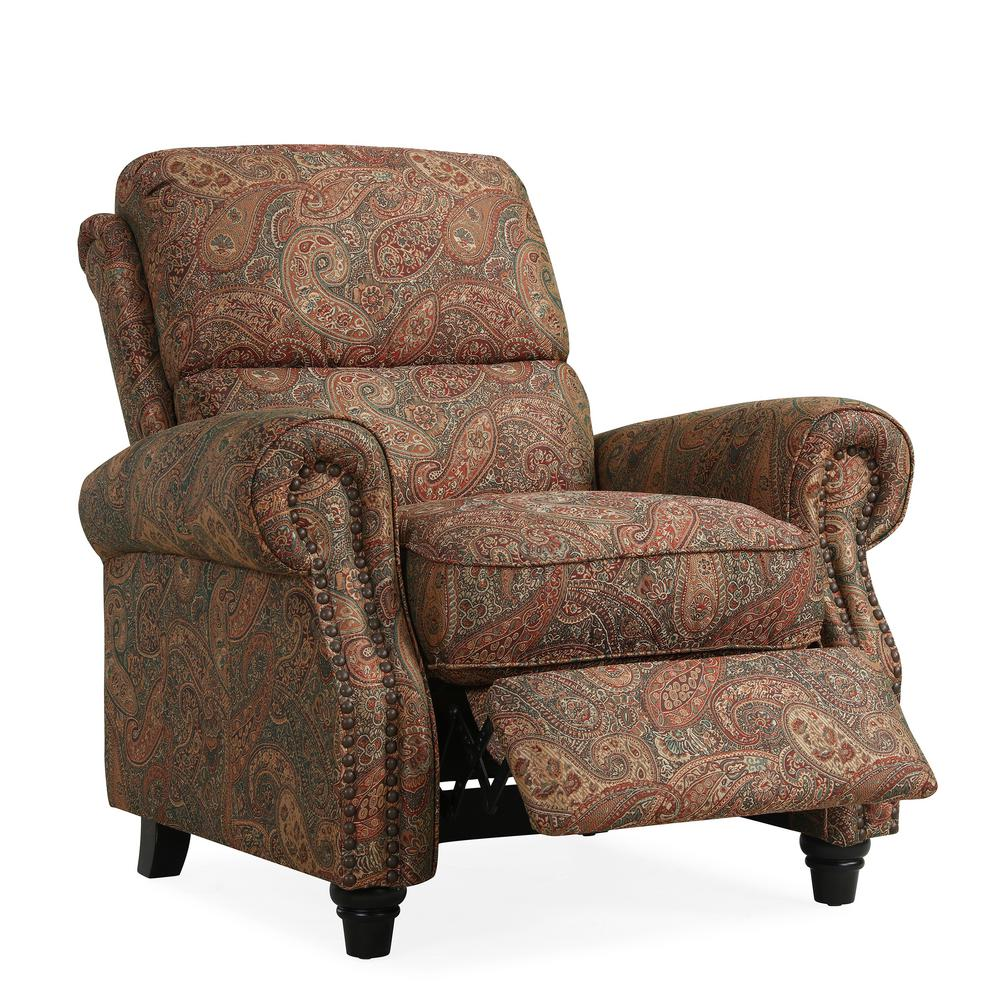 Paisley Chair Details About Recliner Chair Push Back Polyester Upholstery Living Room Furniture Paisley New