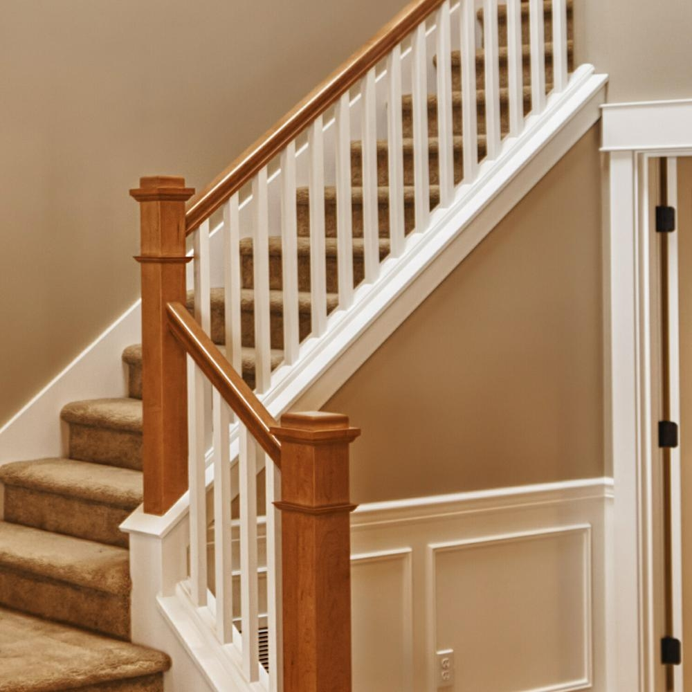 Stair Parts 6010 10 Ft Unfinished Red Oak Plowed Stair Handrail   Red Oak Handrail Home Depot   Staircase   6084   Stair Handrail Fitting   Bending   Oak Stair Treads