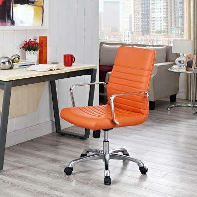 orange office chair leather rocking desk chairs home furniture finesse mid back memory foam in brown