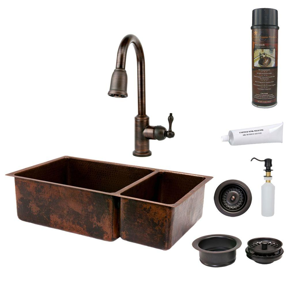 oil rubbed bronze kitchen sink undermount white premier copper products all in one hammered 33 0 hole double bowl