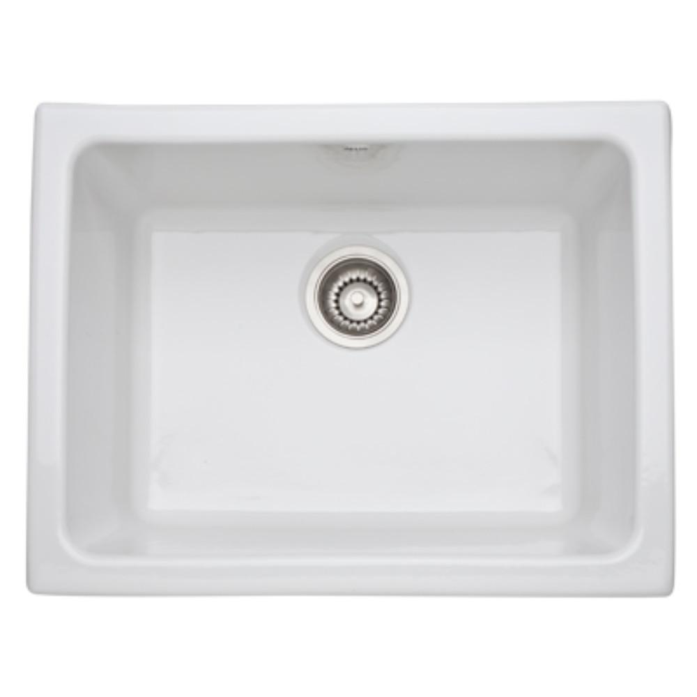 rohl kitchen sinks 4 piece faucet allia undermount fireclay 24 in single bowl sink white