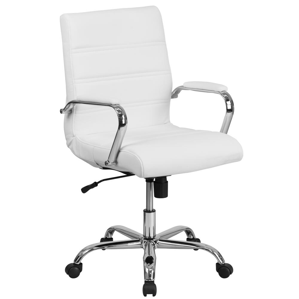 swivel office chair with wheels best glider carnegy avenue mid back white leather executive chrome base and arms