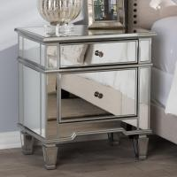 Baxton Studio Sussie 2-Drawer Silver Metallic Nightstand ...