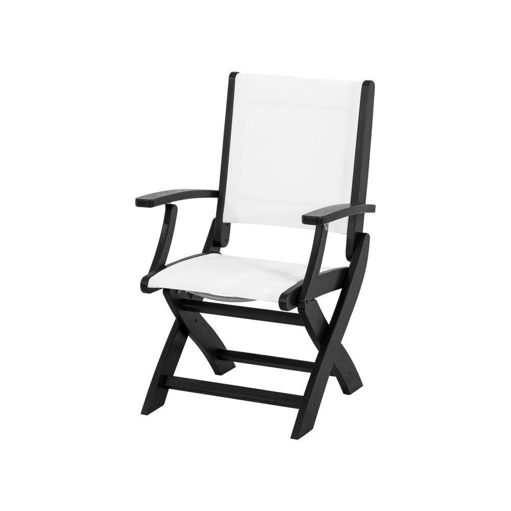 Chair Slings Polywood Coastal Black Patio Folding Chair With White Sling