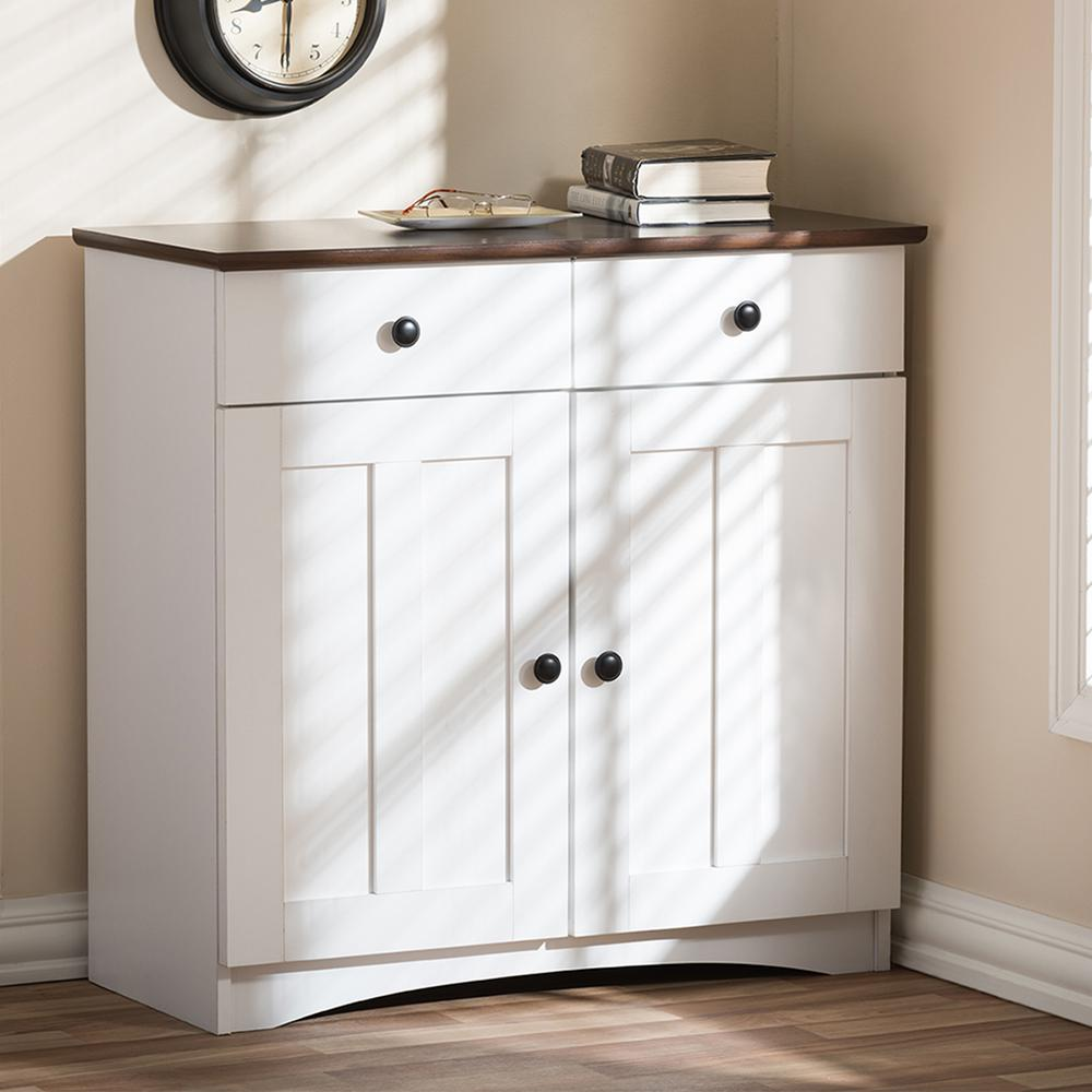 Baxton Studio Lauren Contemporary 3042 in H x 312 in W White Wood Kitchen Storage Cabinet