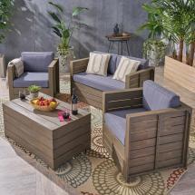 Noble House Oxnard Gray 4-piece Wood Patio Conversation