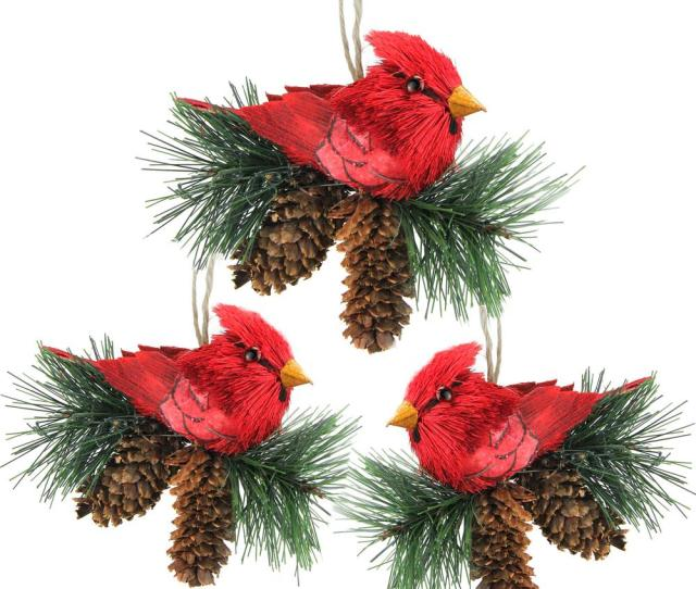 Red Cardinal Birds On Pine Cones Christmas Ornaments Pack Of