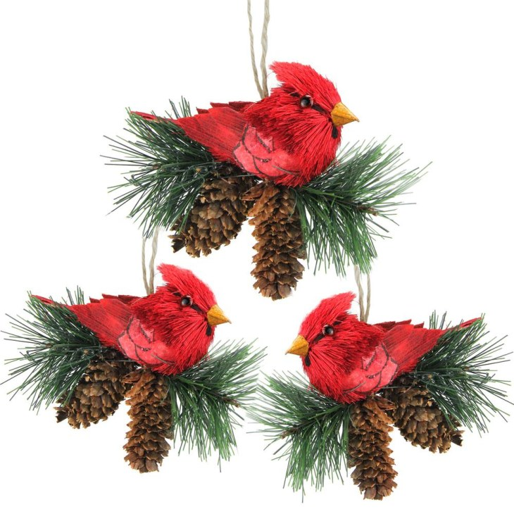 Red Cardinal Birds on Pine Cones Christmas Ornaments (Pack of 3)