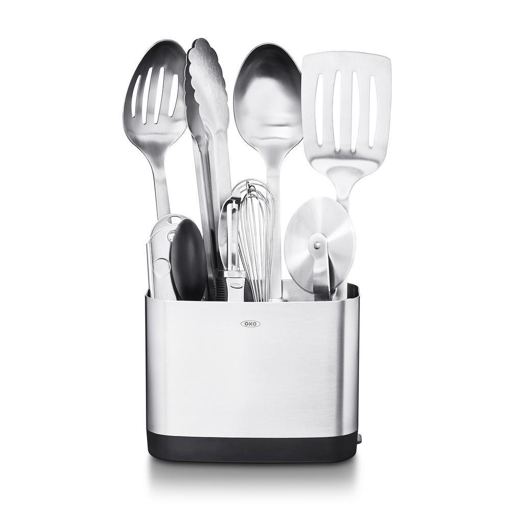 oxo kitchen utensils oakley sink backpack stealth black steel utensil set of 9 3114500 the home depot