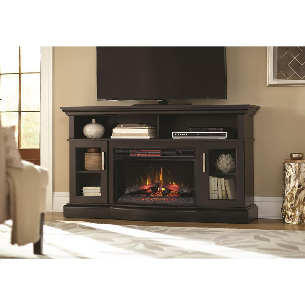 Home Decorators Collection Hawkings Point 595 in Rustic TV Stand Electric Fireplace in Black