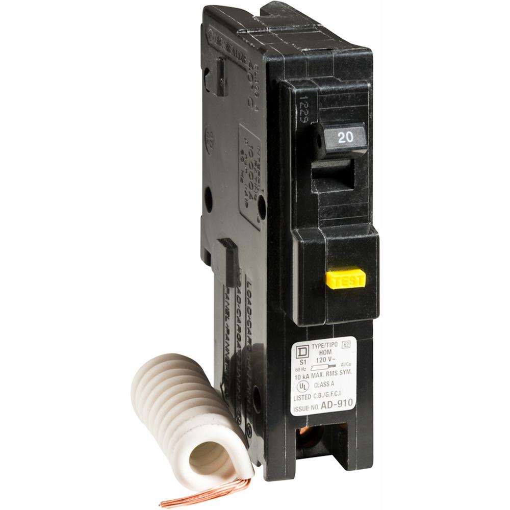 hight resolution of square d homeline 20 amp single pole gfci circuit breaker