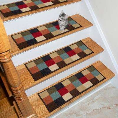 Bright 4 Carpet Stair Tread Covers Rugs The Home Depot | Multi Coloured Stair Carpet | American Style | Candy Stripe | Interior Design | Textured | Residence